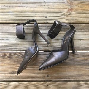 Gucci Shoes - GUCCI VINTAGE, 1990's brown ankle strap heels